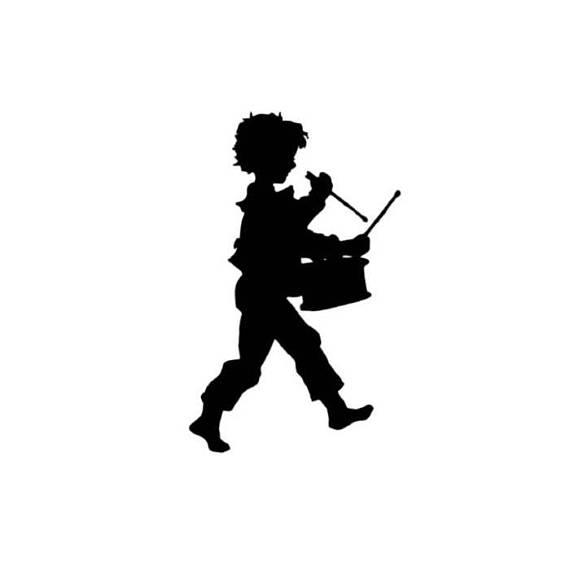 570x570 Drummer Boy Silhouette Lg Unmounted Music Rubber Stamp