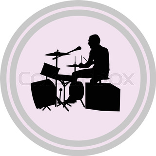 320x320 Man Singer Woman Singer And Drummer Silhouette Vector Stock