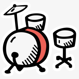 256x256 Stick Figure Drums, Stick Figure, Cartoon Drums, Silhouette Png
