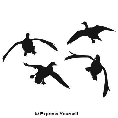 400x400 Flying Duck Silhouette Jukin'' Four Ducks Waterfowl Decal