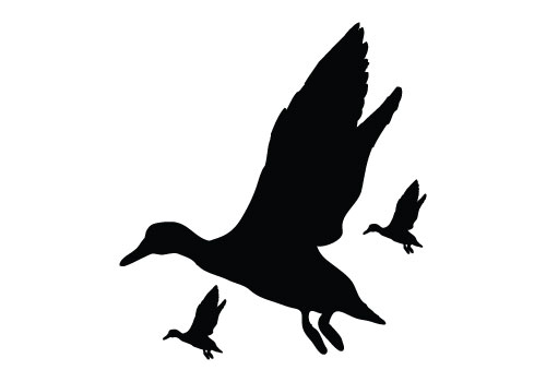 500x350 Nobby Flying Duck Silhouette Vector Free Clip Art