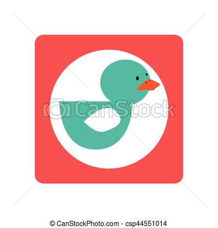 450x470 Square Shape With Silhouette Duck Toy Vector Illustration Vector
