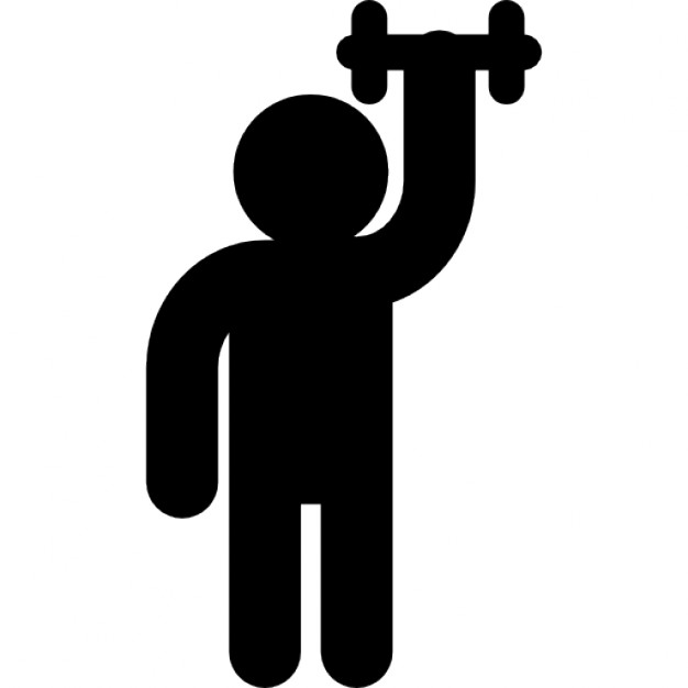 626x626 Male Silhouette Raising Dumbbell Of Small Size Icons Free Download