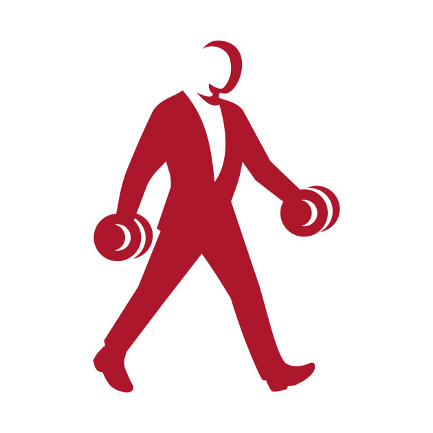 630x630 Man In Suit Walking With Dumbbell Silhouette