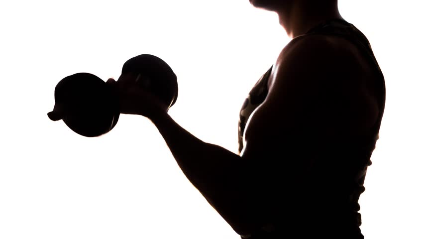 852x480 Close Up Of A Muscular Bodybuilder Lifting A Large, Heavy Dumbbell