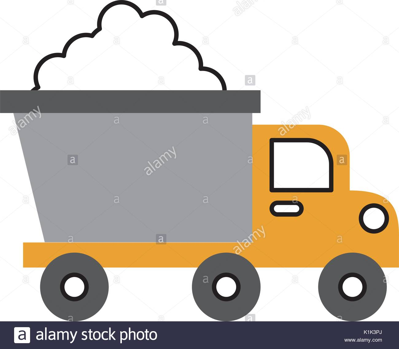 1300x1135 Dump Truck With Load In Monochrome Blurred Silhouette Stock Vector