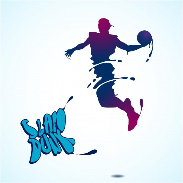 626x626 Basketball Slam Dunk Splash Silhouette Vector Premium Download