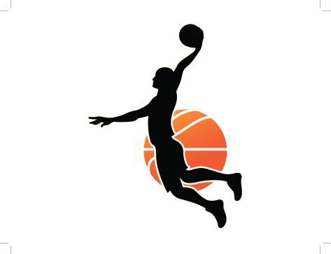 473x363 Black Silhouette Of A Man Dunking A Basketball Vector Id450235023