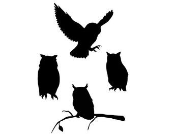 340x270 Owl Silhouette Svg Dxf File Instant Download Silhouette Cameo