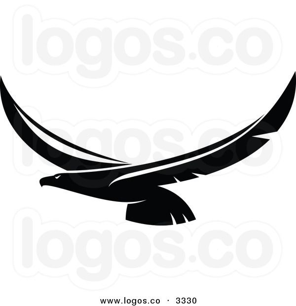 600x620 Royalty Free Vector Of A Black And White Flying Eagle Logo Logos