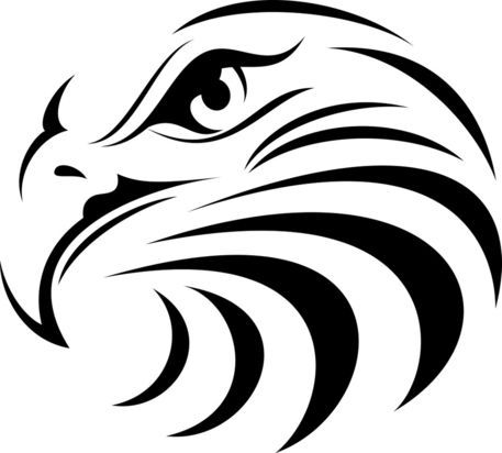 457x412 Eagle's Head Outlined Outdoor Vinyl Decal Handmade Bird Decal