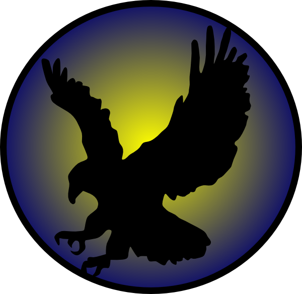 600x584 Eagle Silhouette On Blue Clip Art