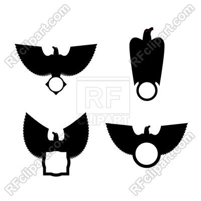 400x400 Eagle And Circle Emblem Template Set. Hawk Symbol. Royalty Free