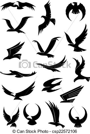 317x470 Flying Eagle, Falcon And Hawk Vector Icons. Flying Eagle