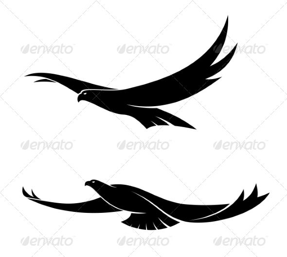 590x530 Two Graceful Flying Birds Flying Bird Silhouette, Tattoo