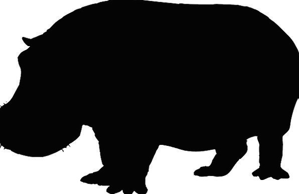 596x387 Hippo, Physical, Mammal, Creature, Animal, Silhouette, Outline