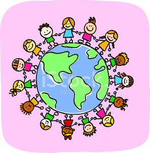 296x300 Little Kids Holding Hands Around World Map Doodle Cartoon Illust