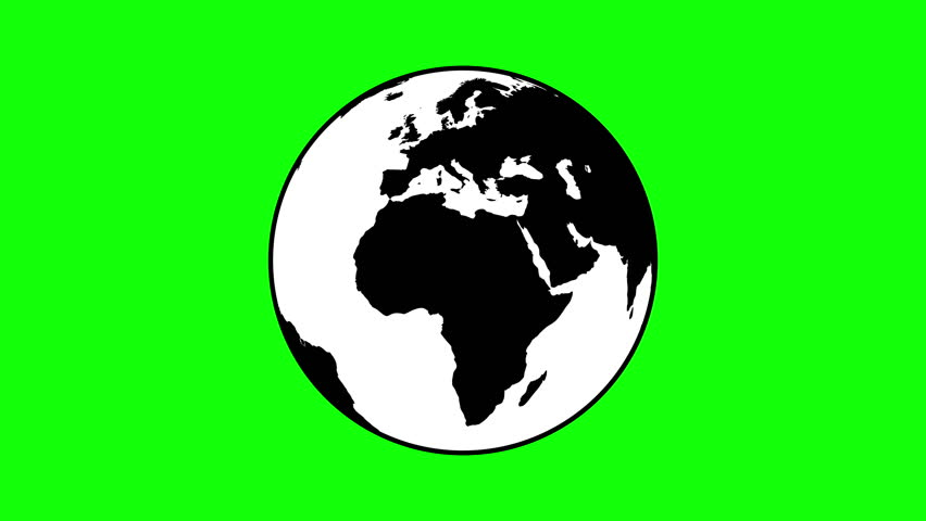 852x480 Isolated Earth Globe Silhouette Rotating On The Green Screen