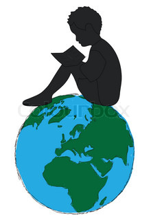 220x320 Learning,silhouette Boy Reading Book In The Globe Stock Photo