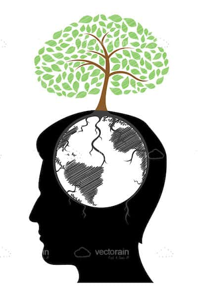 400x600 Abstract Silhouette Head With Earth And Tree Design