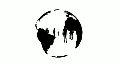 480x268 People Inside Rotating Earth Silhouette ~ Footage