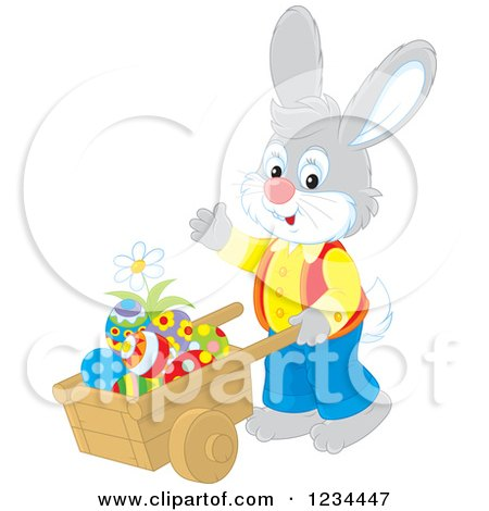 450x470 Clipart Of A Gray Easter Bunny Rabbit Couple With A Basket Of Eggs