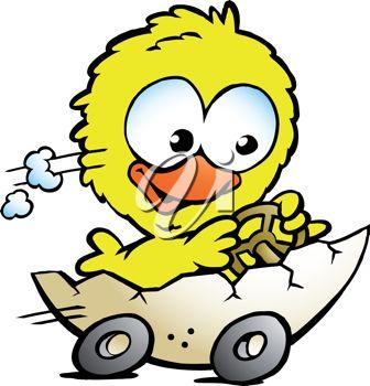 336x350 Cartoon Clip Art Illustration Of An Easter Chick Driving An Egg