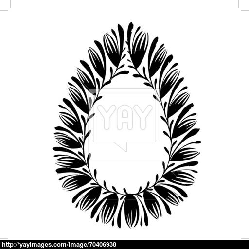 512x512 Decorative Floral Silhouette Easter Egg Vector