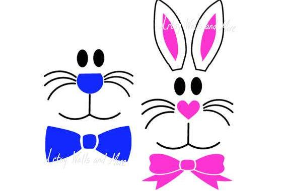 570x380 Easter Bunny Face Boy Bunny Girl Bunny Design Bundles