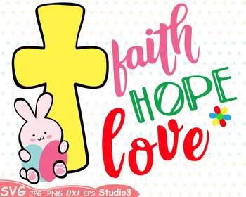 350x280 Easter Silhouette Svg Clipart Faith Hope Love Bunny Cross Eggs 71sv