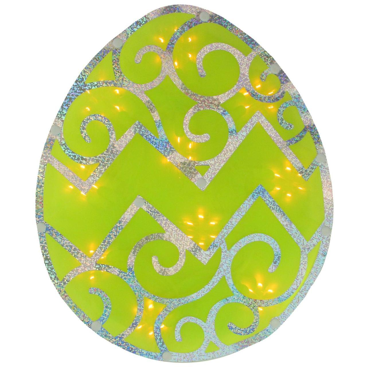 1280x1280 12 Lighted Green Easter Egg Window Silhouette Decoration