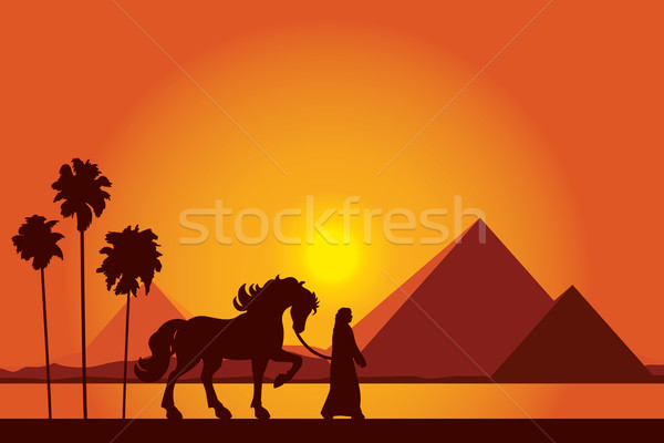 600x400 Egypt Great Pyramids With Silhouette Of Bedouin And Horse On Sun