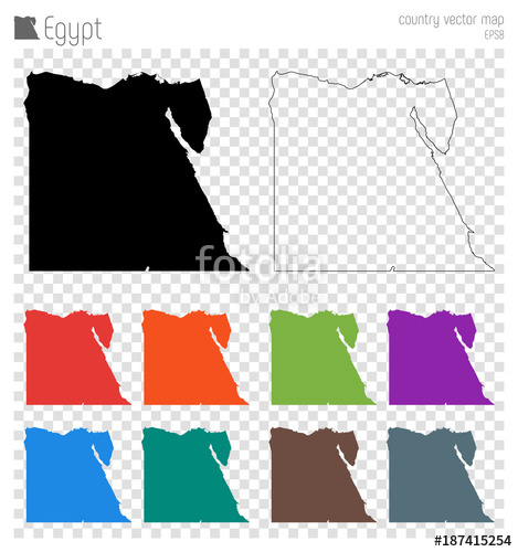 469x500 Egypt High Detailed Map. Country Silhouette Icon. Isolated Egypt