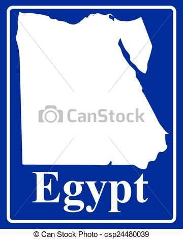 360x470 Sign As A White Silhouette Map Of Egypt With An Inscription