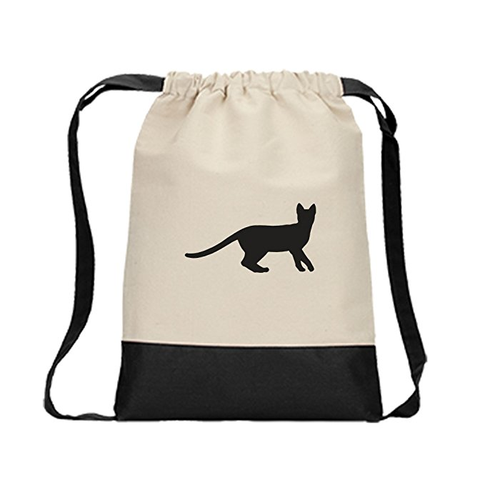 679x679 Canvas Backpack Color Drawstring Egyptian Mau Cat