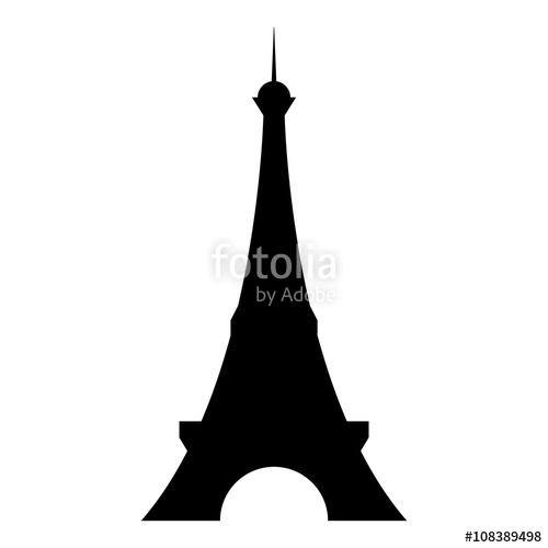 500x500 Isolated And Hand Drawn Black Paris Eiffel Tower Front Silhouette