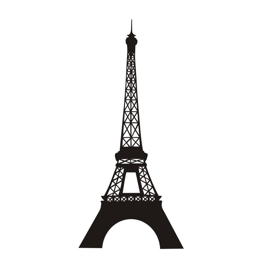 900x900 Paris Landmark Eiffel Tower Silhouette Wall Sticker Vinyl