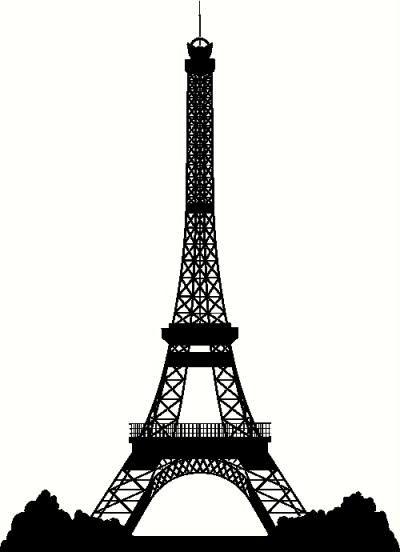 400x552 Paris Silhouette Eiffel Tower Silhouette Vinyl Decal Car Decal