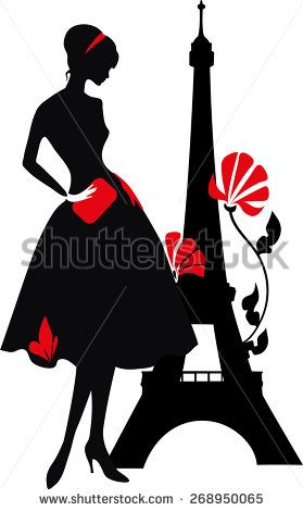279x470 Retro Woman Red And Black Silhouette With Eiffel Tower Fabrics