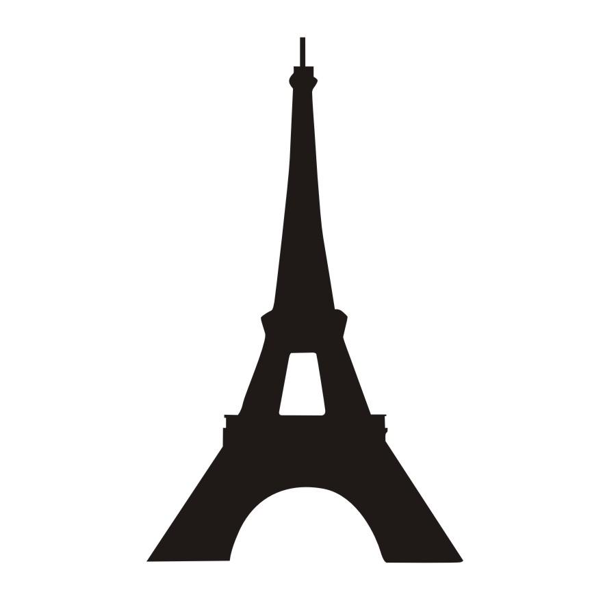 900x900 Paris Eiffel Tower Silhouette Wall Decals City Landmark Building