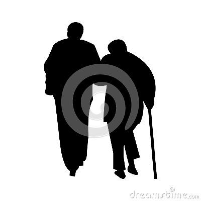 400x400 A Black Silhouette Of An Elderly Couple Walking With A Walking