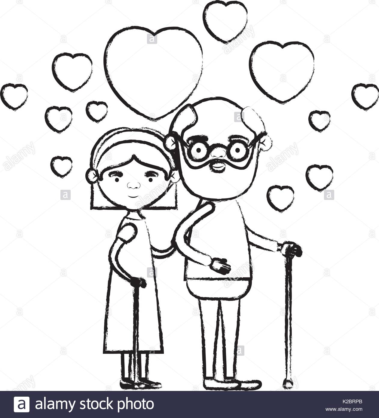 1261x1390 Blurred Silhouette Of Caricature Full Body Elderly Couple Embraced
