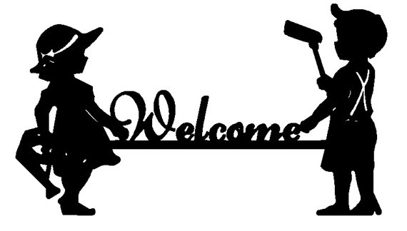570x324 Boy And Girl Welcome Sign Dxf File For Cnc Plasma, Router, Laser