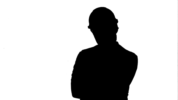 590x332 Silhouette Frustrated Workman In Helmet Over Track Matte. By