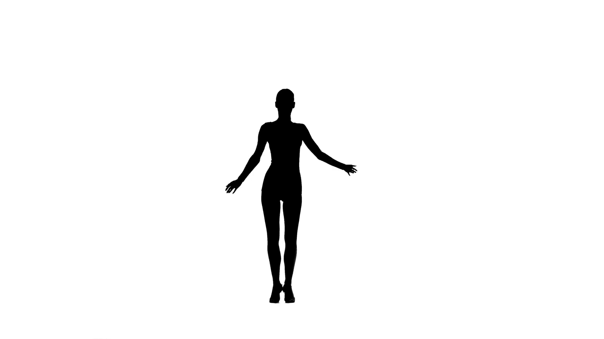 1920x1080 Elegant Woman Dancer Performing Rumba In Silhouette On White