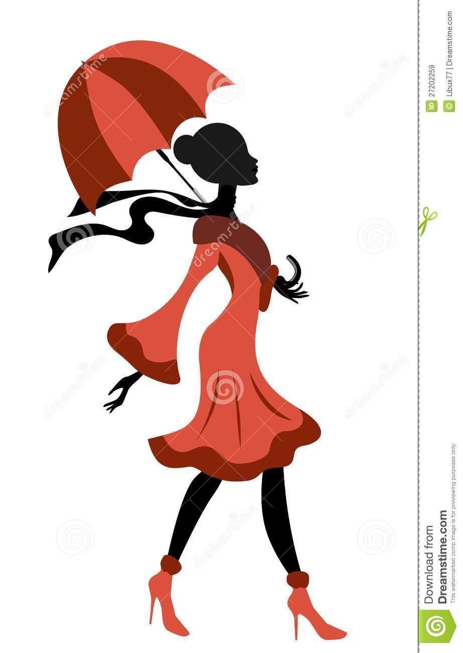 923x1300 Elegant Lady Silhouette Walking With Umbrella Royalty Free Stock
