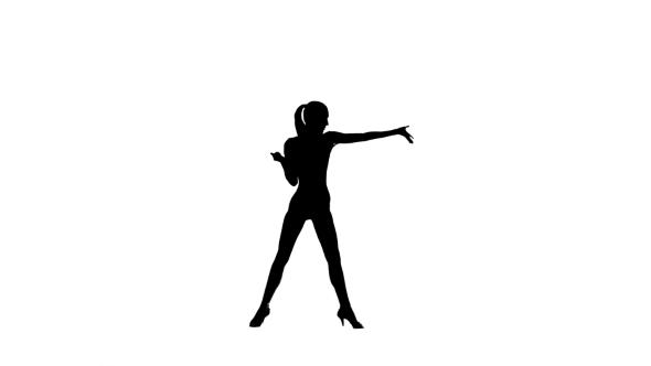 590x332 Elegant Woman Dancer Performing Rumba In Silhouette On White