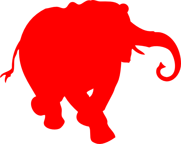 600x479 Elephant Silhouette Red Clip Art