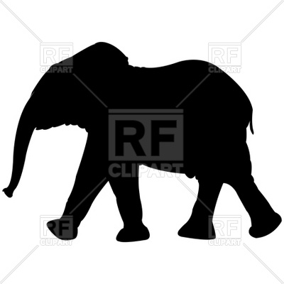 400x400 Baby Elephant Silhouette Royalty Free Vector Clip Art Image