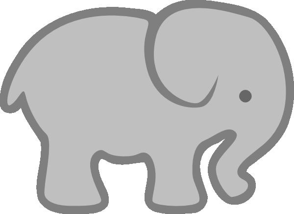 600x436 Gray Elephant Outline Clip Art